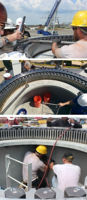 Agrico ironworkers install the first array of SmartBolts in the critical slewing ring bearing.