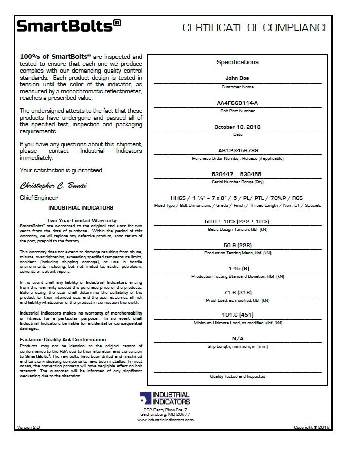 Certificate of Compliance   SmartBolts.com