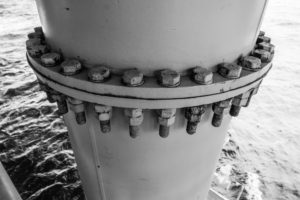 bolts on an offshore wind turbine